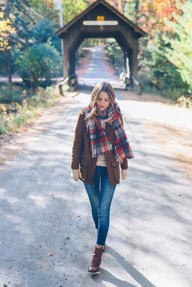 Plaid scarves paired with a field jacket and turtleneck...so perfect for fall! From Prosseco & Plaid.