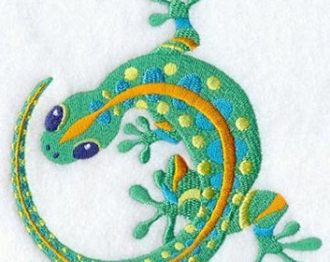 Des Caraïbes Lagarto lézard Gecko brodé serviette de main pour le sac de farine