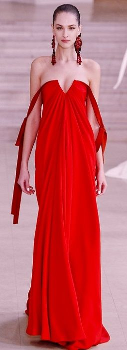 Consider sheer fabric underneath top part to accentuate v-cleavage and lightly cover top of arms (possibly joining top of the ribbon detail. Alexis Mabille - red couture - 2011 jaglady