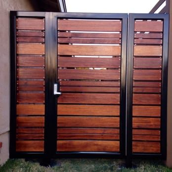 Modern horizontal style entry gate ipe mangaris tropical hardwood, prominent welded steel frame, keyless entry | Yelp