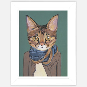 Artist: Heather MattoonHipster Cat, Cat In Clothing, Cat Artworks, Art Prints, Infinity Scarf, Savannah Cat, Artists Heather, Heather Mattoon, Animal Cat