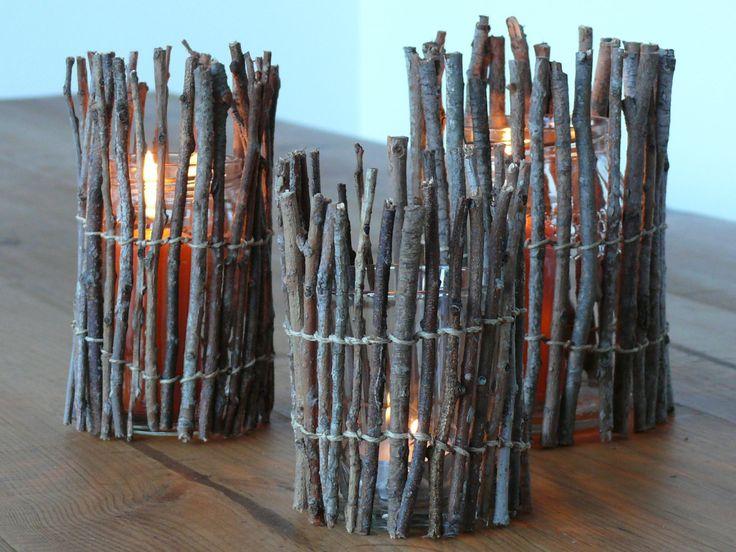Photophores2 avec bouts de bois ramassés au parc...avec ficelles ou rubans ou ????