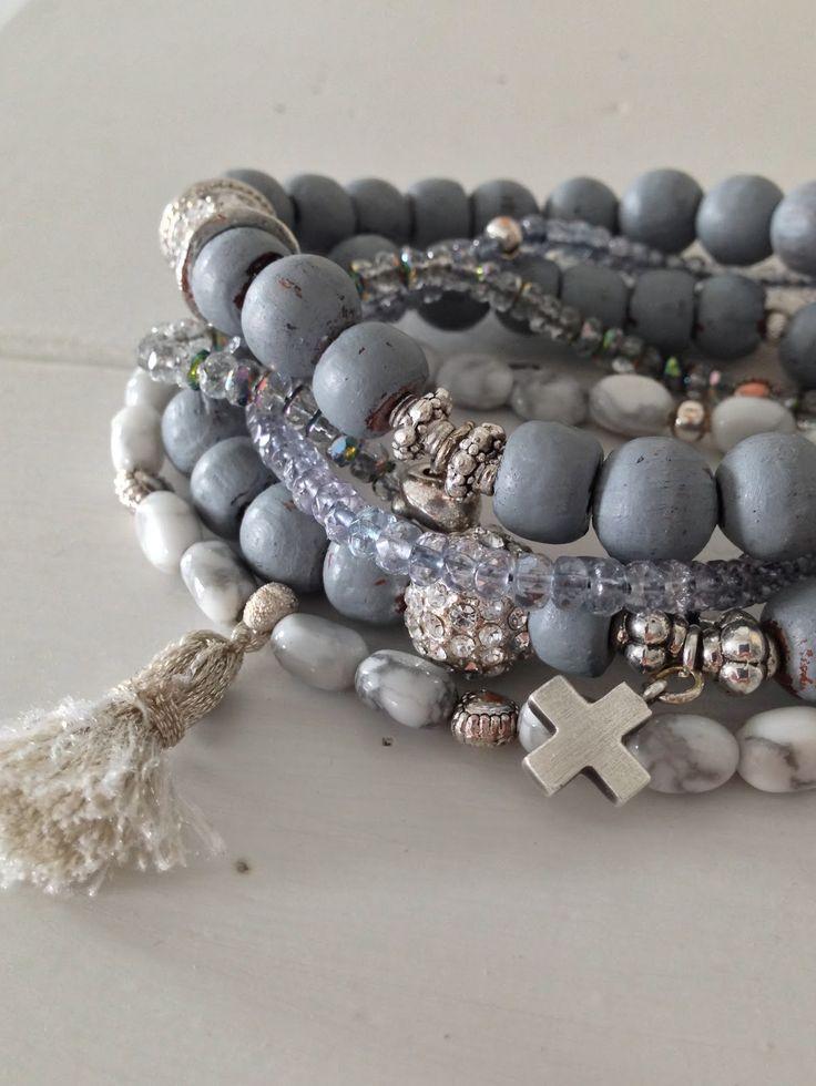 Plata y azul pulsera