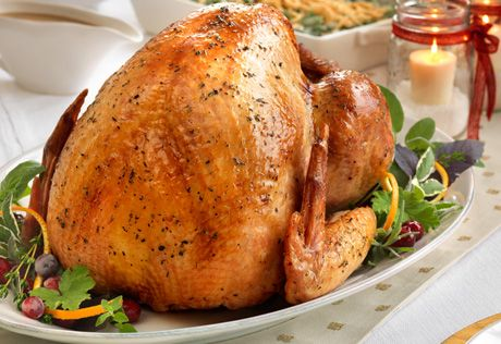 Here's an easy, reliable way to ensure a moist and flavorful turkey...simply pour the herb-seasoned chicken stock;over the bird, then baste with the pan drippings while it roasts. When the turkey is done, use a bit more stock;to make a quick and;savory gravy.