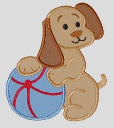 Puppy and Ball Applique - 5x7 | Baby | Machine Embroidery Designs | SWAKembroidery.com Applique for Kids