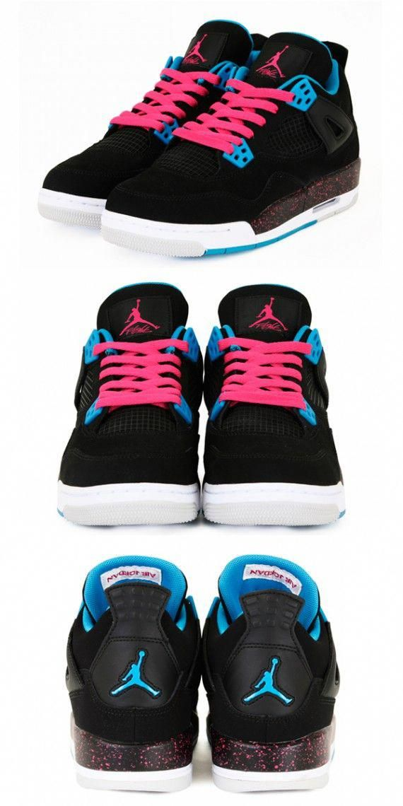 new styles 34dc4 2dbdc Air Jordan 4 Retro GS - Black Dynamic Blue-Vivid Pink - New Images