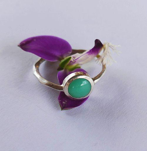 Silver and Chrysoprase Ring. #greenstone #handmadejewellery #ringoftheday #floral #designerjewellery #capetown #chrysoprase