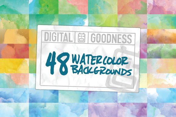 48 Watercolor Backgrounds by Jason Heglund on @creativemarket