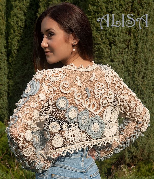 Irish crochet bolero