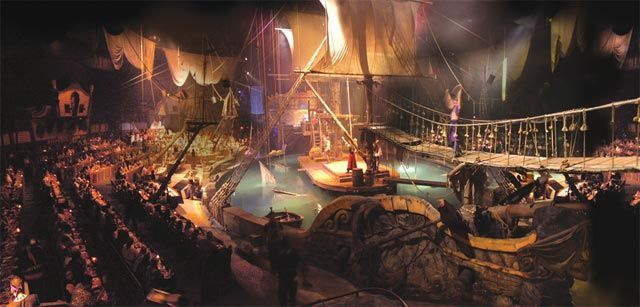 Pirate's Dinner Adventure is a Broadway-quality show presented on an enormous, fully-rigged pirate's galleon. The elaborate dinner theater set provides the backdrop for action, acrobatics, romance, comedy and a hearty feast!