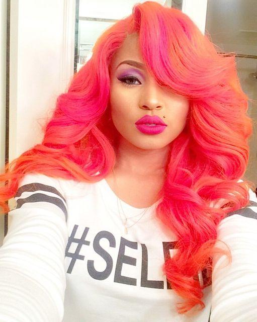 orange pink hair colorful