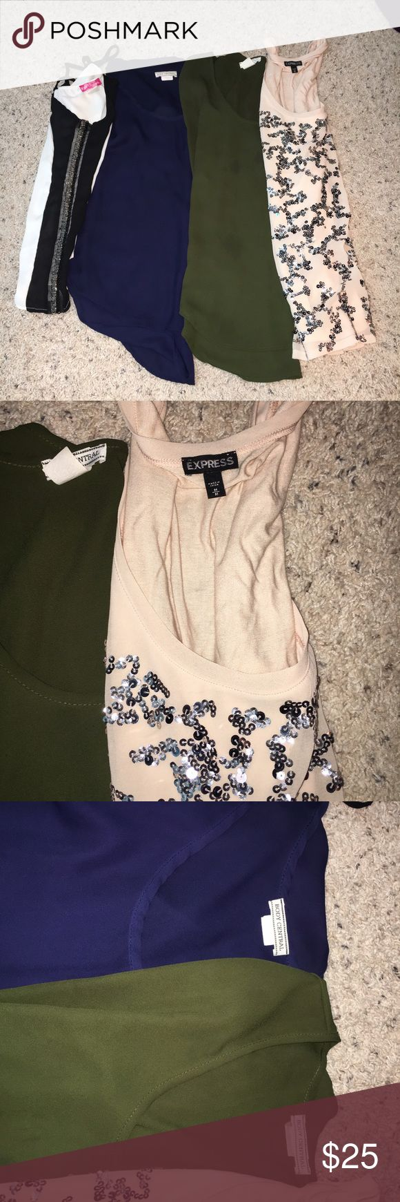 Bundle of clothes All size medium. Express tank hasn't even been worn and the other three only used twice. All in mint condition. Just changed my style in clothing. Other three tops are from body central. Express Tops Blouses