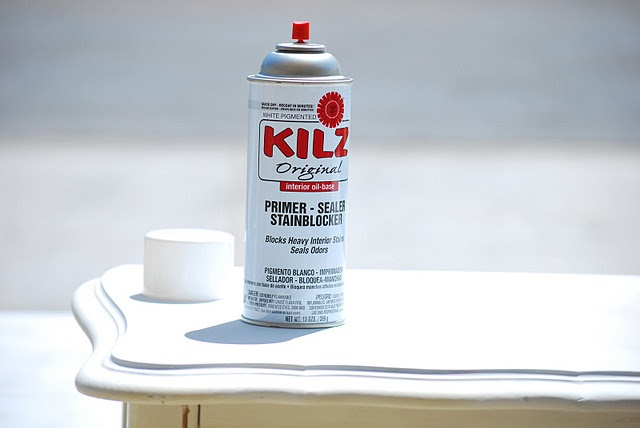 My secret time-saver weapon... ...is none other than my Kilz spray primer. It's pricey - like 5 x the price of the stuff in the gallon, but for me it's totally worth it. I've actually gone through 8 cans within the last week. This spray primer can be sanded within 30 minutes of applying and then quickly painted over. If I roll on the other non-aerosol type, I have to wait until the next day to sand and paint. It dries to the touch within 30 minutes, but clumps like crazy if you try to sand…