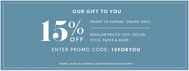 Indigo Canada Weekend Online Promo Code Offers: Save 15% Off Regular-Priced Toys Decor Style Paper & More Jan... http://www.lavahotdeals.com/ca/cheap/indigo-canada-weekend-online-promo-code-offers-save/164535?utm_source=pinterest&utm_medium=rss&utm_campaign=at_lavahotdeals