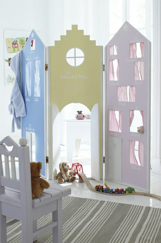 fun room divider for sharing bedrooms...  fairies and flowers one side - super hero skyscrapers on the other!