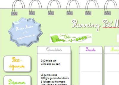 Planifier les menus de bébé sur la semaine