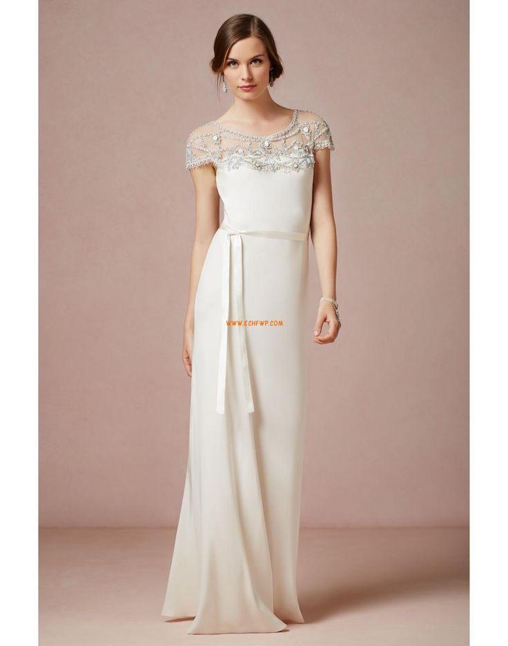 Bílé šatičky Krátké rukávy S křišťálovou aplikací Designer Svatební šaty