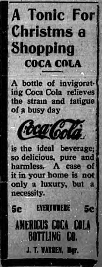 December 9, 1915 - Christmas shopping advertisement for Coca Cola.