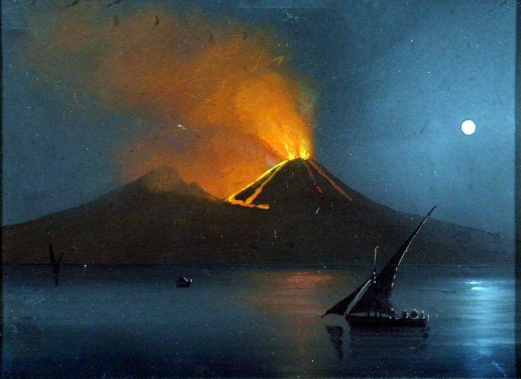 Scuola XIX secolo - Eruzione del Vesuvio