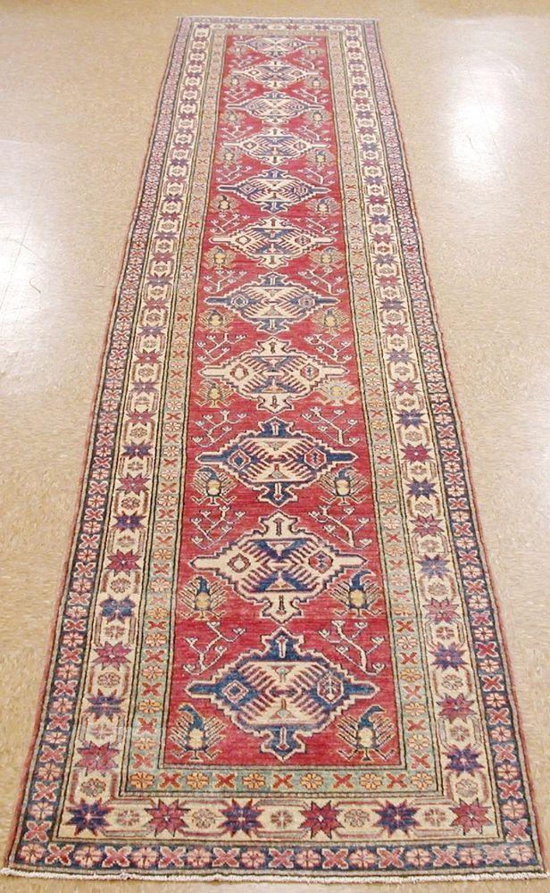 2 11  x 15 4  KAZAK SHIRVAN Hand Knotted Wool REDS BLUES New Oriental Rug RUNNER