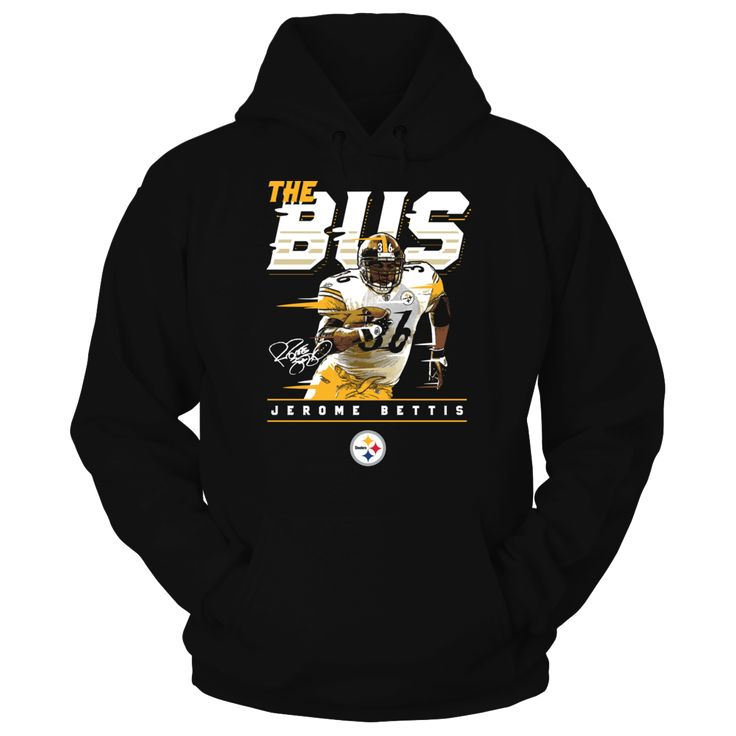 Pittsburgh Steelers - Jerome Bettis - The Bus T-Shirt, Pittsburgh Steelers Official Apparel - this licensed gear is the perfect clothing for fans. Makes a fun gift!  AVAILABLE PRODUCTS Gildan Unisex Pullover Hoodie - $44.95   Gildan Unisex Pullover Hoodie District Women District Men Next Level Women Gildan Long-Sleeve T-Shirt Gildan Fleece Crew Gildan Youth T-Shirt View sizing / material info