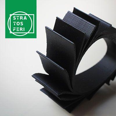 Archventil Stratosferi. 3D-Printed Bracelets. #Product & #BrandIdentity #Design #bracelet #3dprinted #3dprinting #3dprintedbracelet #braceletdesign #plastic #abs #yellow #black #white #rose #layers #stratosferi #strati #identity #graphics #packaging #labels #stickers #logo #brand #identity #neris #circle #strato #jewellery #fashion #milan #marca #grafica #marchio #etichetta #bracciale #stampa3d