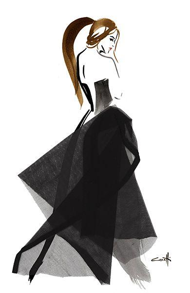 Michel Canetti Illustrateur Agence Marie Bastille agent d'illustrateurs Illustration de mode beauté portraits cosmétiques bijoux dessin au pinceau à la main