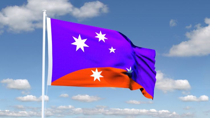 #ausflag ULURU–SKY minima, new Australian Flag design in heliotrope blue and orange ochre field, with dynamic inclined Southern Cross and Federation Star integrated as an original device. ©2015 simon alexander cook creative commons attribution share alike license