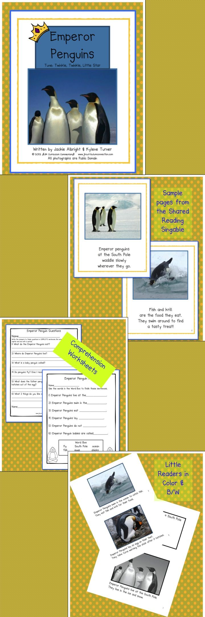 Emperor Penguins is a Shared Reading singable book that uses photos as the illustrations. This non-fiction songbook is sung to the familiar tune Twinkle, Twinkle, Little Star.  Children love learning new vocabulary words and interesting facts about these colorful birds from Antarctica.  40 pages for $5.75 http://www.teacherspayteachers.com/Product/Emperor-Penguins-Non-fiction-Shared-Reading-Singable-190823