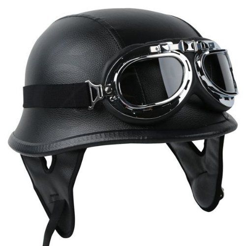 NEW German Leather Style Half Helmet Motorcycle Cruiser Helmet with Pilot Goggles DOT APPROVED (L)