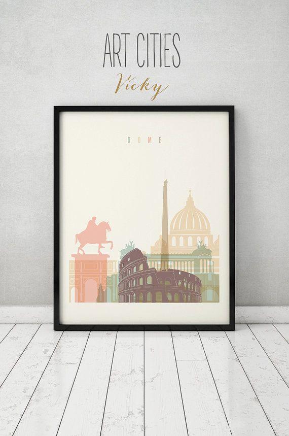 Rome print, Poster, Wall art, Italy cityscape, Rome skyline, City poster, Typography art, Gift, Home Decor Digital Print, ART PRINTS VICKY.
