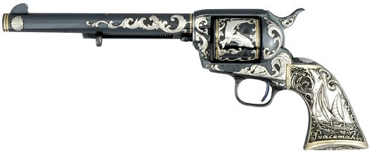 This Tiffany & Co. designed Colt Single Action Army Revolver engraved Leonard Francolini, is one of a pair engraved for George Strichman of Colt Industries. The gun was part of a display at the Autry National Center in Glendale, California.