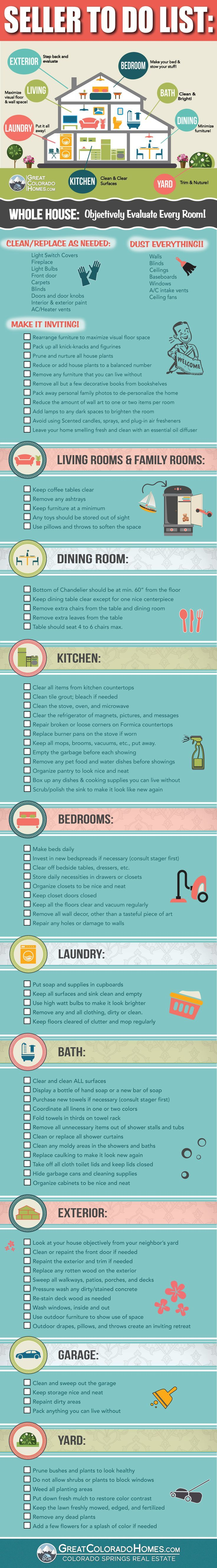 Home seller to do list. Very helpful resource to prepare to sell your home or real estate.: