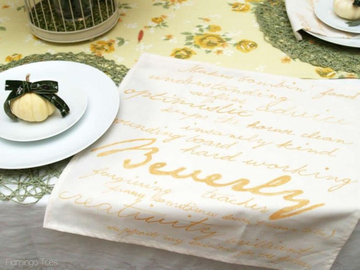 These are great!  Personalized Thankful Napkins and Thanksgiving TablescapeFlamingo Toes