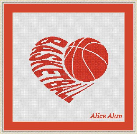 Cross Stitch Pattern Typography Heart Basketball monochrome Counted Cross Stitch Pattern/Instant Download Epattern PDF File