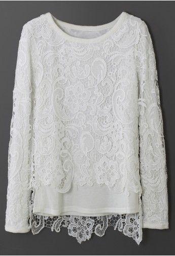 White Full Crochet Overlay Top