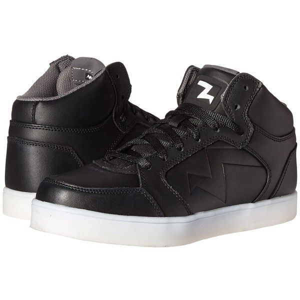 SKECHERS Energy Lights Parkey (Black) Men's Shoes ($75) ❤ liked on Polyvore featuring men's fashion, men's shoes, men's sneakers, mens hi tops, mens black sneakers, mens wide width sneakers, mens leather sneakers and mens velcro shoes