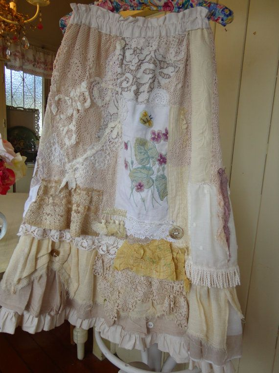 Upcycled Romantic Rag Skirt / DressRuffelsLace & lots by vintacci, $320.00