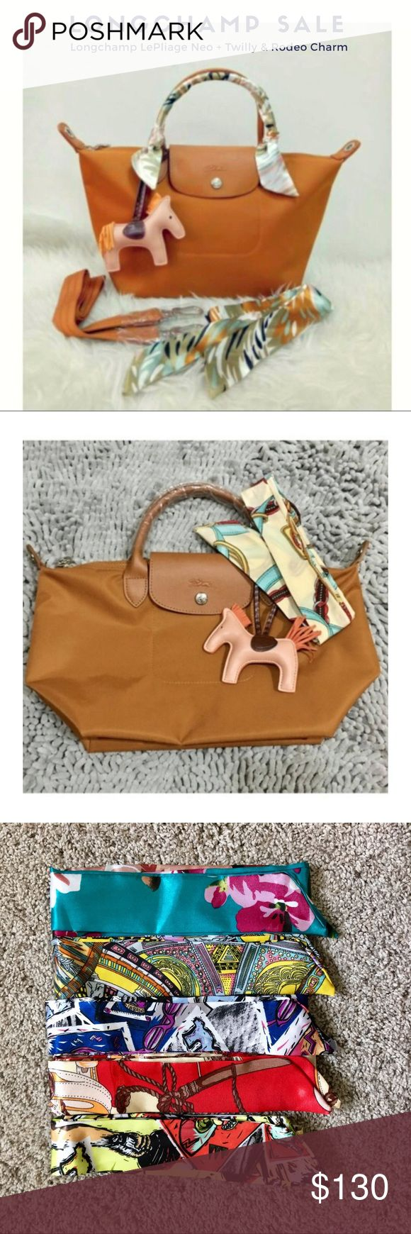 Longchamp Le Pliage NEO Caramel- SML Short Handle SALE!! SALE!!  Longchamp NEO with Twilly and Rodeo Bag Charm  Authentic Longchamp Neo Caramel ( sml short handle) 100% Silk Twilly Rodeo Bag Charm Longchamp Bags Totes