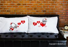 """Cupid's in flight and yes, love's in the air! These his and hers couple pillowcases are like you and your loved one- meant to be side by side! They show the complete story of love. Unique Valentines Day gifts for boyfriend or husband. BoldLoft """"Love Goes toward Love"""" Couple Pillowcases.  #hisandhers #valentinesgiftsforboyfriend #couplegifts"""