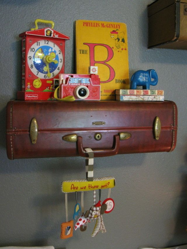 Nursery with Vintage Suitcase Shelves - Project Nursery: Travel Theme, Vintage Suitcases, Baby Boys, Suitcases Shelves, Projects Nurseries, Vintage Toys, Suitcase Shelves, Nurseries Ideas, Baby Nurseries