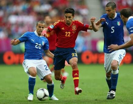 Spain 1 Italy 1 in 2012 in Gdansk. Jesus Navas cuts through 2 Italians as Spain attack in Group C at Euro 2012.
