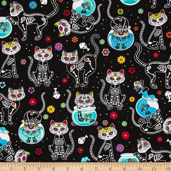 Timeless Treasures Day Of The Dead Kitty Black from @fabricdotcom  Designed for Timeless Treasures, this cotton print fabric is perfect for quilting, apparel and home decor accents. Colors include black, white, grey, pink, orange, yellow, green, shades of blue, purple and red.