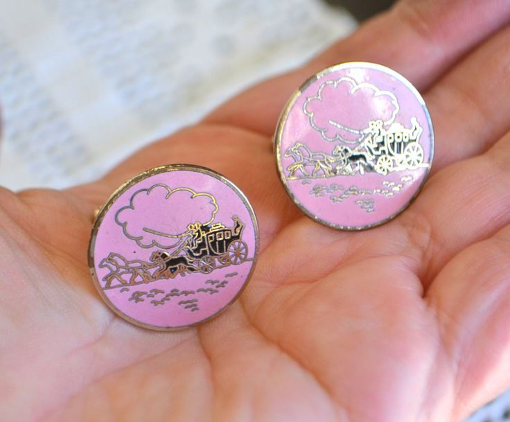 PINK CUFF LINKS Vintage Pink Enamel Cuff links Round Button Shaped Stagecoach Horse Cloud Scene Gold Tone by StudioVintage on Etsy
