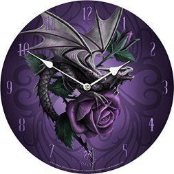 Purple wall art is funky, cute and currently trendy. You can see how popular purple home wall art décor  is on home décor shows on TV, Online and even in your own community. Additionally purple wall art is truly  charming and pretty. #purple       Licensed Anne Stokes Fantasy Gothic Dragon Beauty Purple Rose Wall Clock