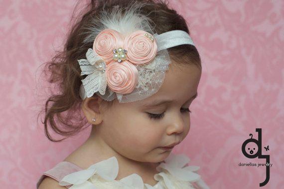 Peach  Vintage Headband/Child Headband /baby by Daniellasjewels, $17.95