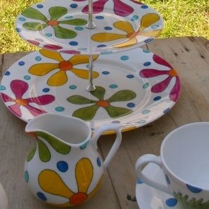 Retro Flowers Cake Stand Hand Painted Bone China £65.00