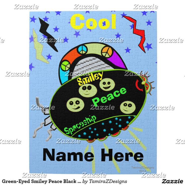 Green-Eyed Smiley Peace Black Spaceship Puzzle