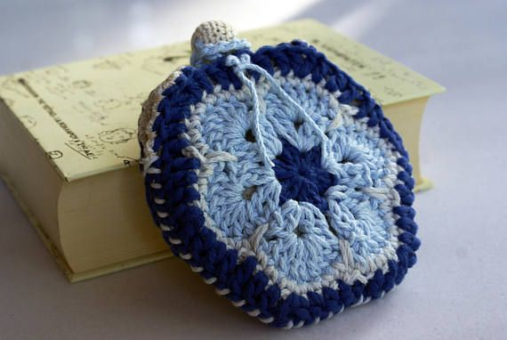 Blue granny square coin purse handmade crochet wallet lined