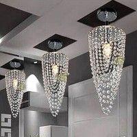 Wish | LED 1-light Chrome Modern crystal chandelier lighting D17*H45cm AC110V-256V Transparent color 100V (Color: Warm white)